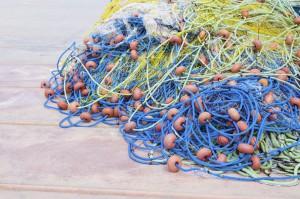 fishing net details on boat.